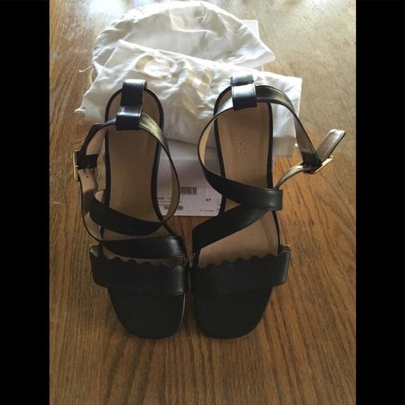 Chloe Black Sheep Waves Flat Sandals
